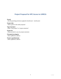Project Proposal for HPC Access to JURECA