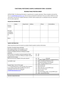 FUNCTIONAL PROTEOMICS SAMPLE SUMBISSION FORM