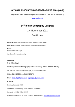 34th Indian Geography Congress, Patna 2