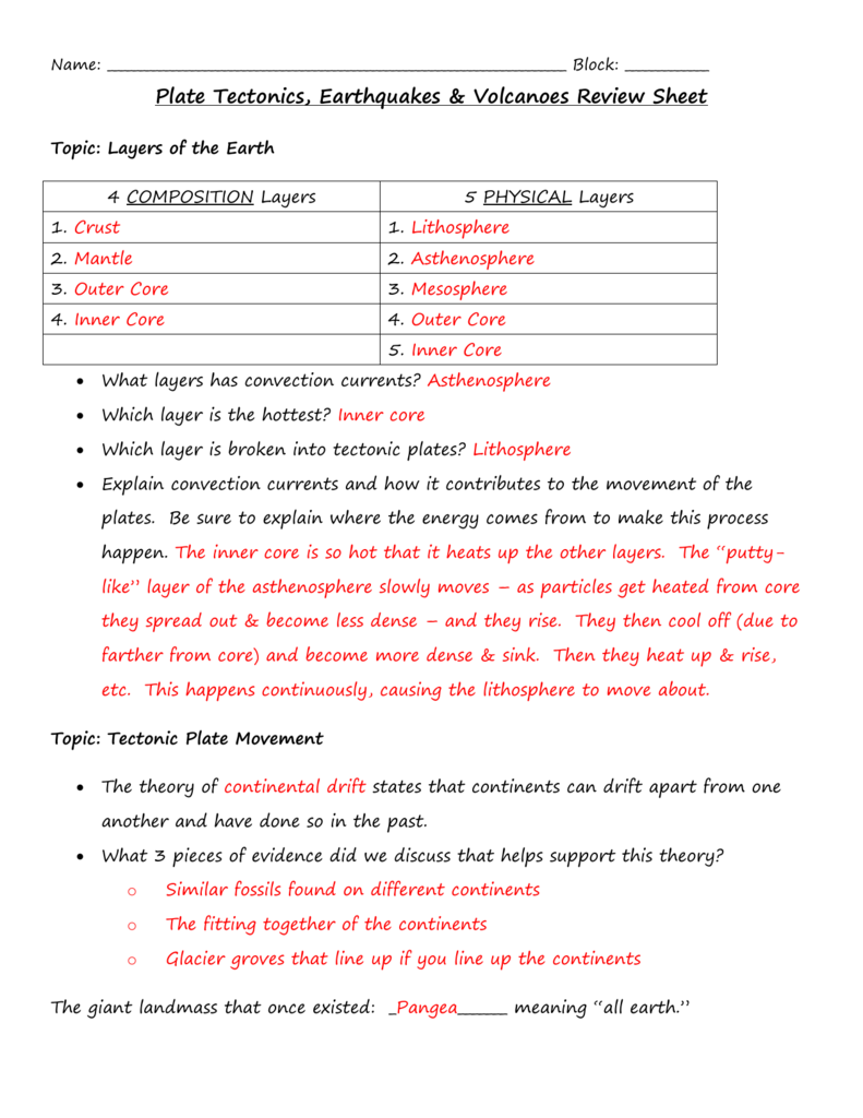 Volcanoes And Plate Tectonics Worksheet Answers Newatvs Info