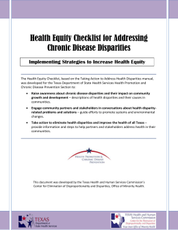 Health Equity Checklist for Addressing Chronic Disease Disparities