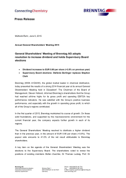 Brenntag General Shareholders` Meeting 2015
