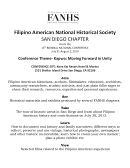 proposals for presentation - Filipino American National Historical