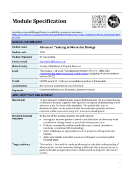 3158 Advanced Training in Molecular Biology Module Specification