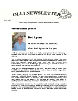 Professional profile Bob Lyons If your interest is Ireland, then Bob
