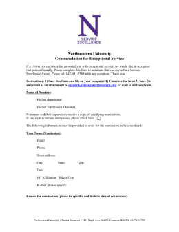 Service Excellence Nomination Form