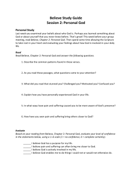 Believe Study Guide - Chapter 2