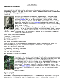 Article of the Week A Few Words about Poems (Achieve3000, March