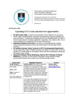 Upcoming UCT events and interview opportunities