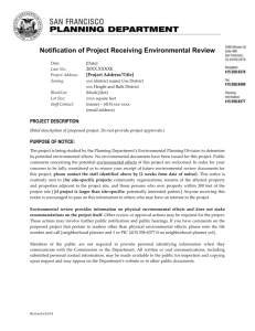Notification of Project Receiving Environmental Review