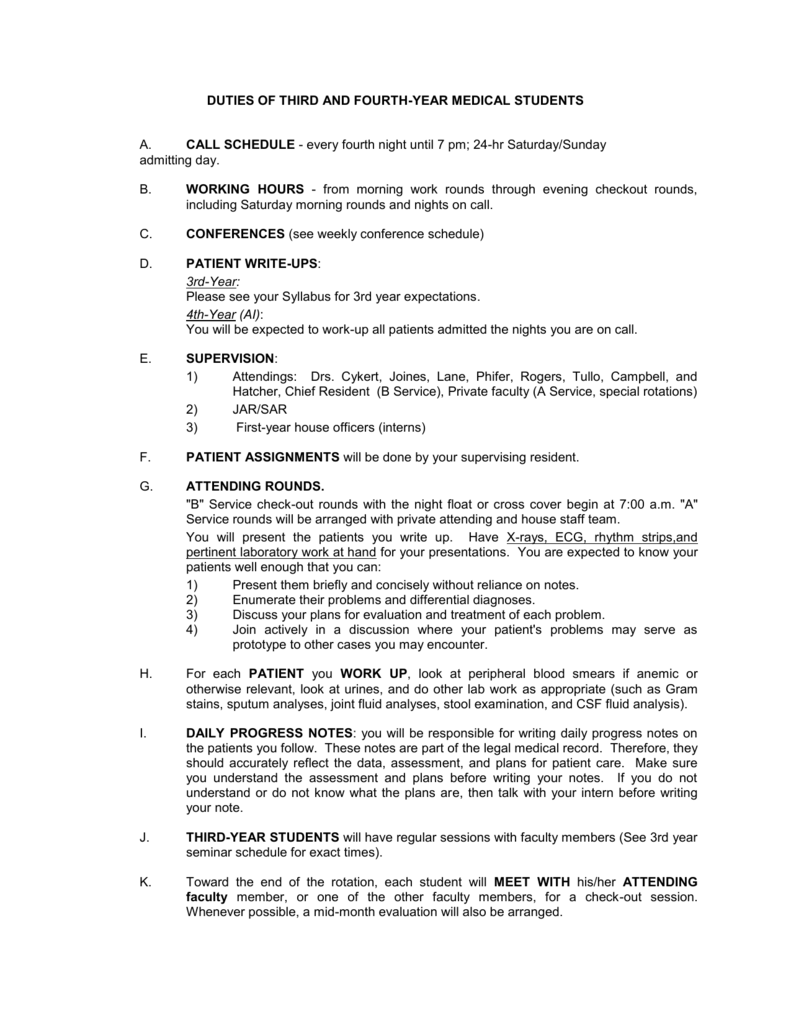 Duties of 3 rd and 4 th Year Medical Students