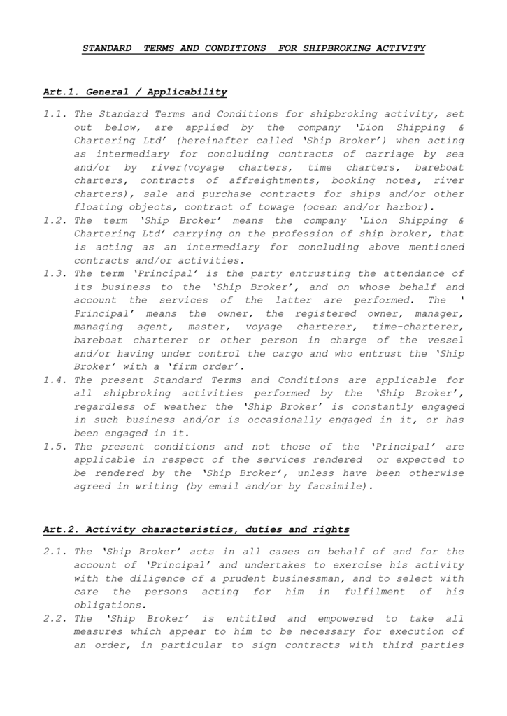 e591d22039b2 The Standard Terms and Conditions for shipbroking activity