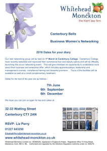 Canterbury Bells Business Women`s Networking 2016 Dates for