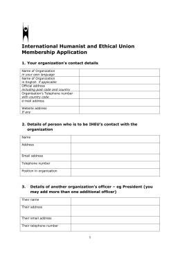 New membership application form - The International Humanist and