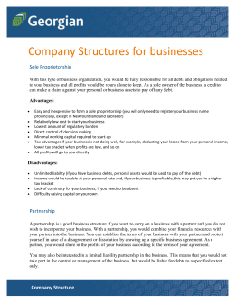 Company Structure - Georgian College