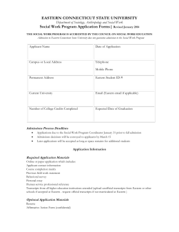 Social Work Program Application Forms