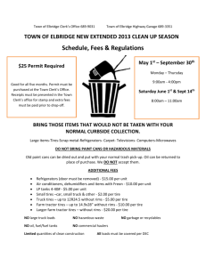 TOWN OF ELBRIDGE NEW EXTENDED 2013 CLEAN UP SEASON