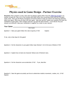 Physics Used in Game Design Worksheet