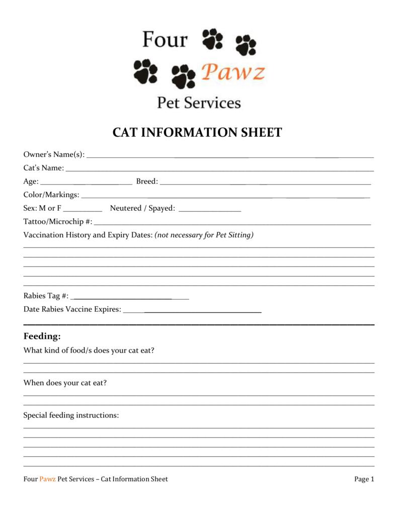 cat information sheet - Four Pawz Pet Services