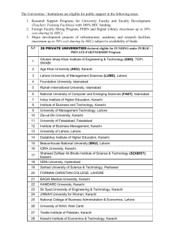 List of 28 Private sector universities also eligible for TRGP-III