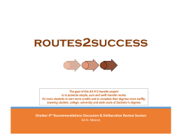 Routes2Success Review - Higher Education Coordinating Council