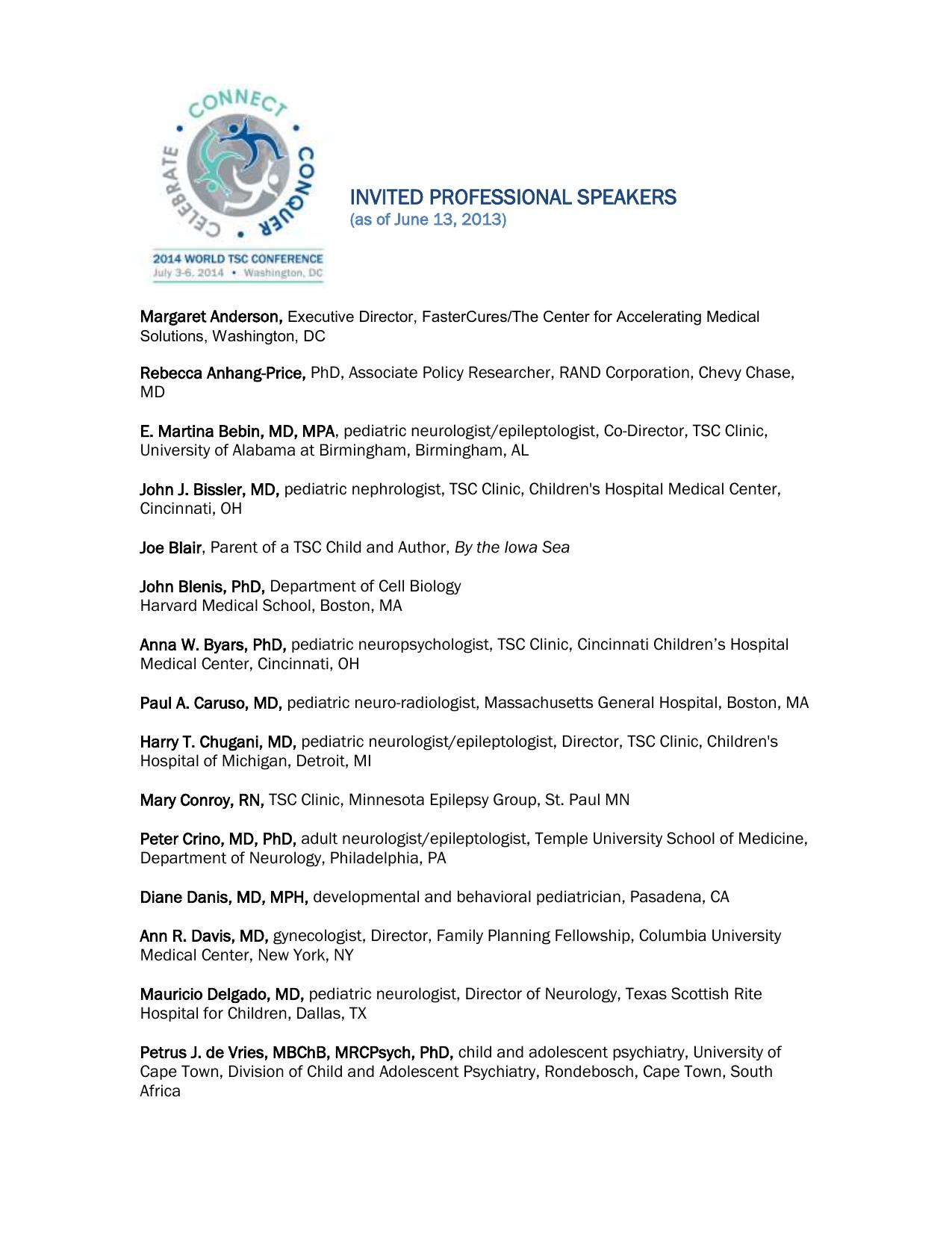 invited professional speakers