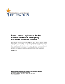 An Act Relative to Medical Emergency Response Plans for Schools