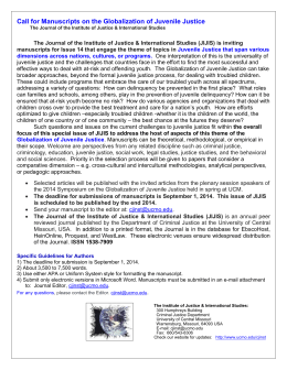 Call for Manuscripts on the Globalization of Juvenile Justice