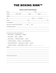 The Boxing Rink™ Medical History Questionnaire