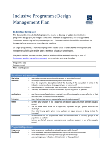Inclusive Programme Design Management Plan