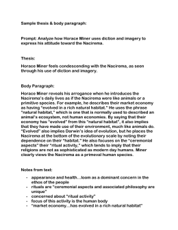 Thesis Essay Example Sample Thesis  Body Paragraph Prompt Analyze How Horace Science Vs Religion Essay also English Essay Example Body Ritual Among The Nacirema Horace Miner English Essays On Different Topics