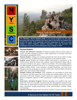 National Youth Science Camp® Program Summary Lectures and