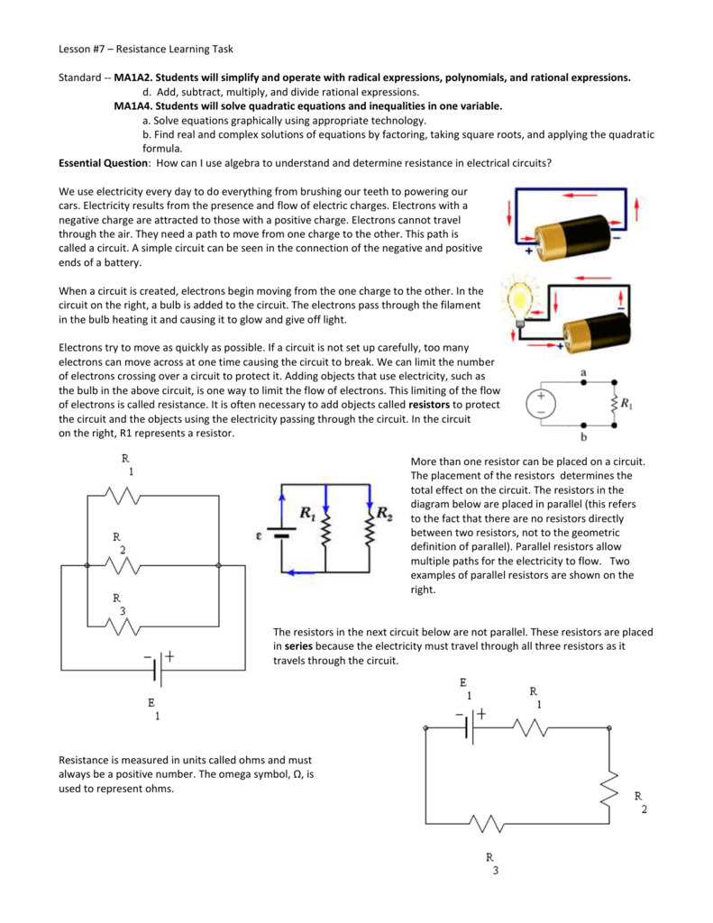 Lesson 7 Resistance Learning Task About Circuits