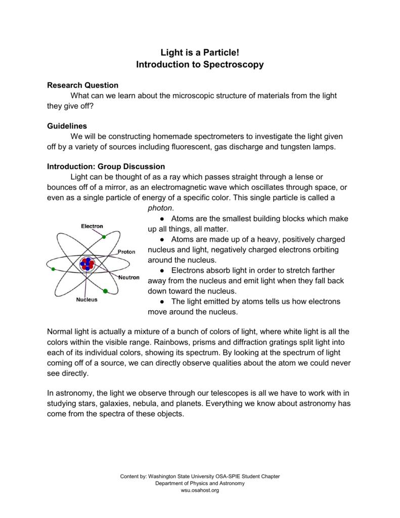 Spectroscopy Worksheet - WSU OSA-SPIE