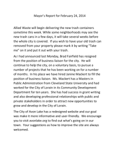 Mayor`s Report for February 24, 2014 Allied Waste will begin