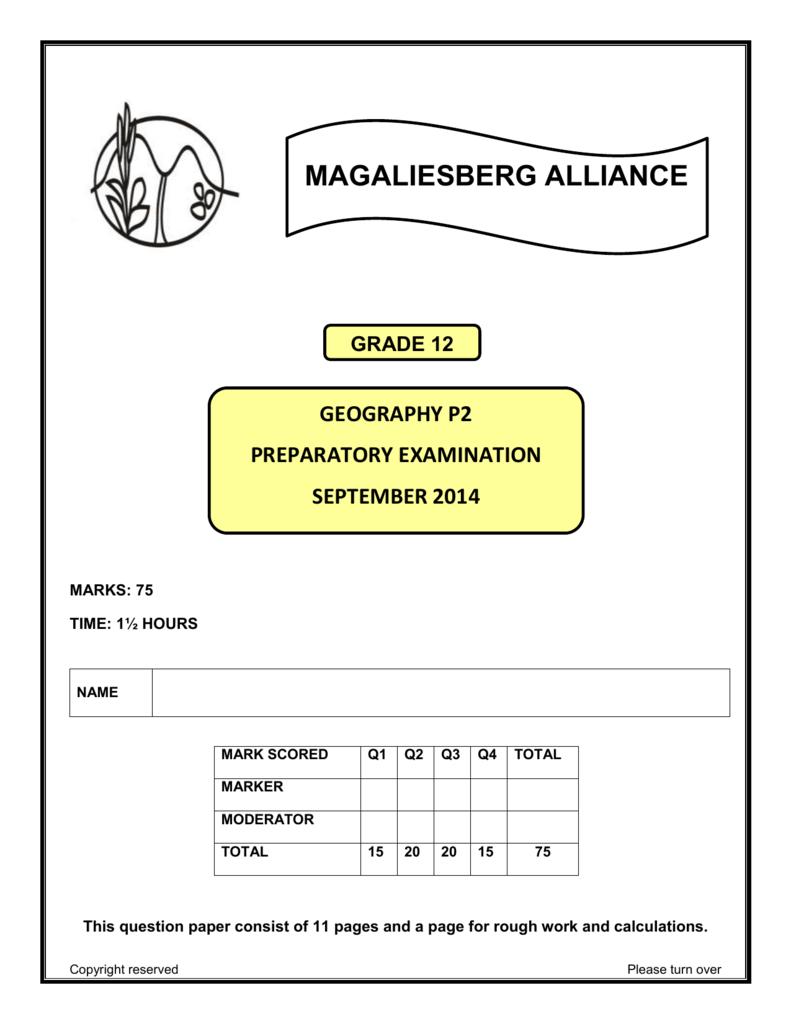 Grade 12 Geography September 2014 P2 (CHS)