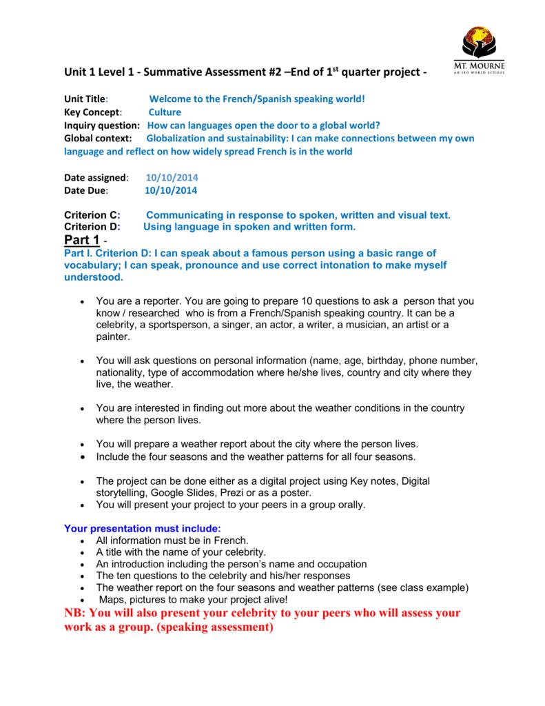 Unit 1 Level 1 - Summative Assessment #2