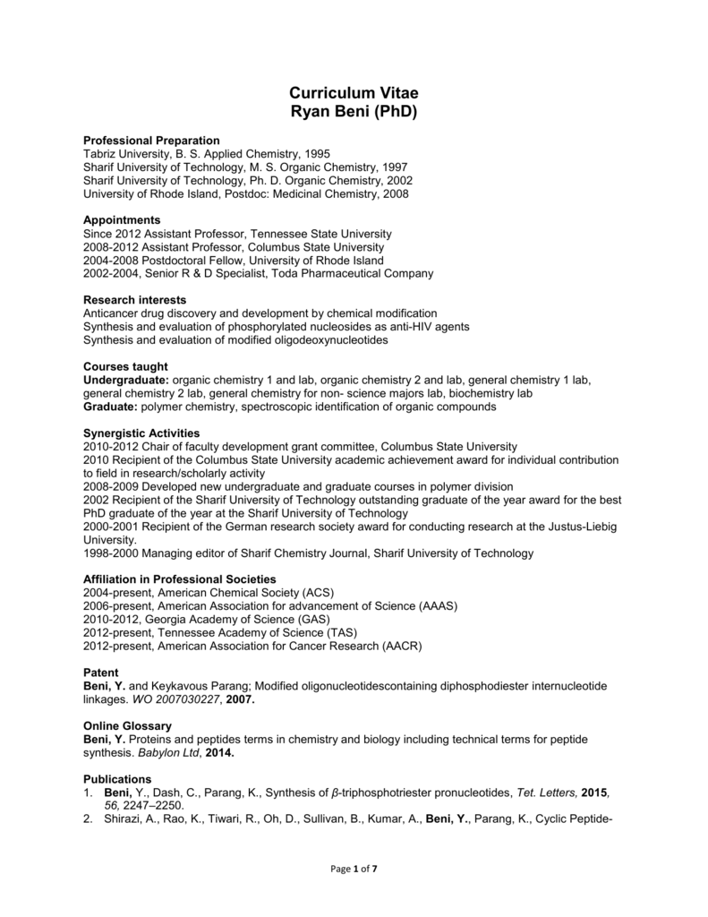 Full CV - Tennessee State University