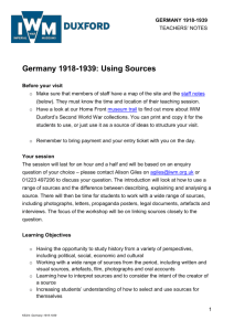 Germany 1918-1939: Using Sources Before
