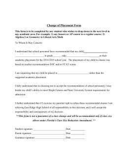 Change of Placement Form