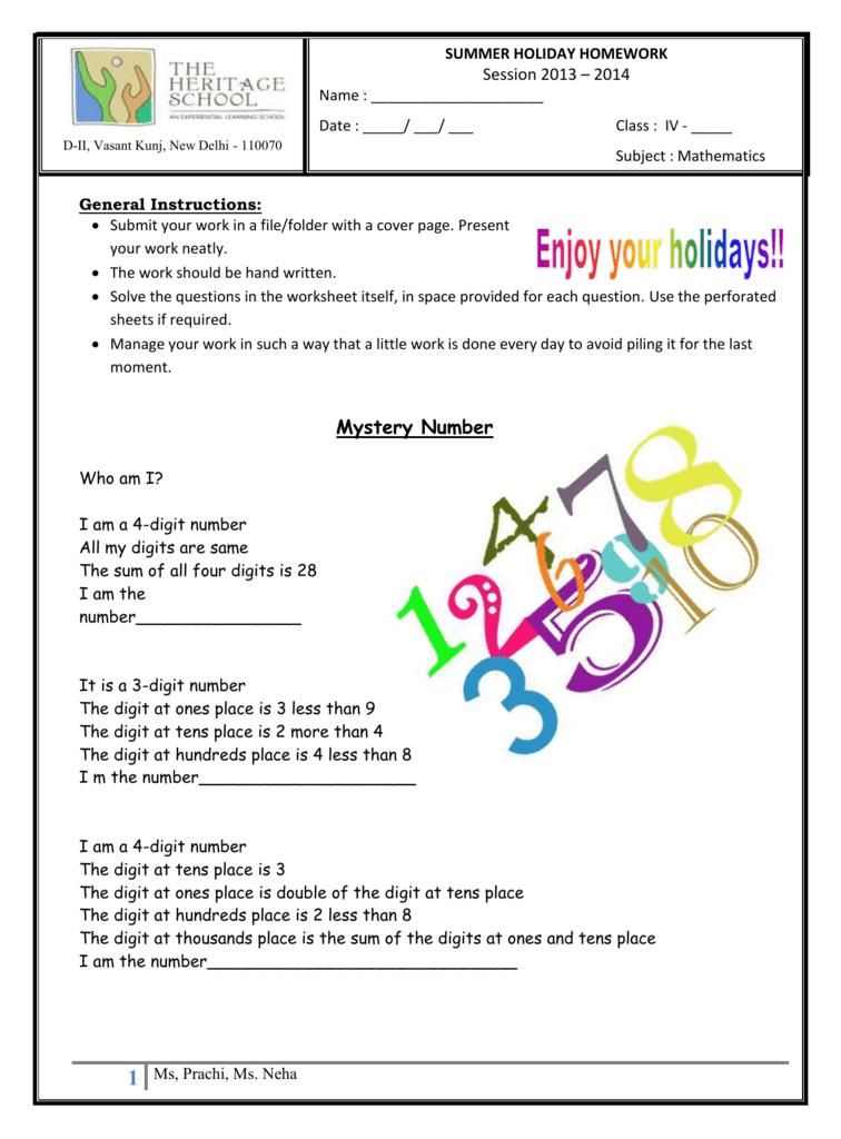 Class IV Maths - The Heritage School