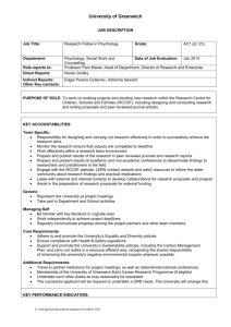 Role Profile - Draft - University of Greenwich