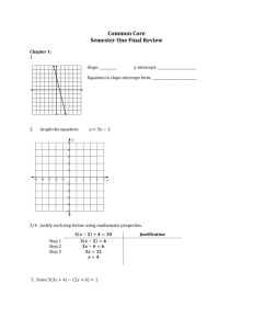 Common Core Semester One Final Review