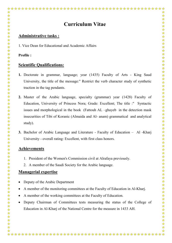 Scientific Qualifications