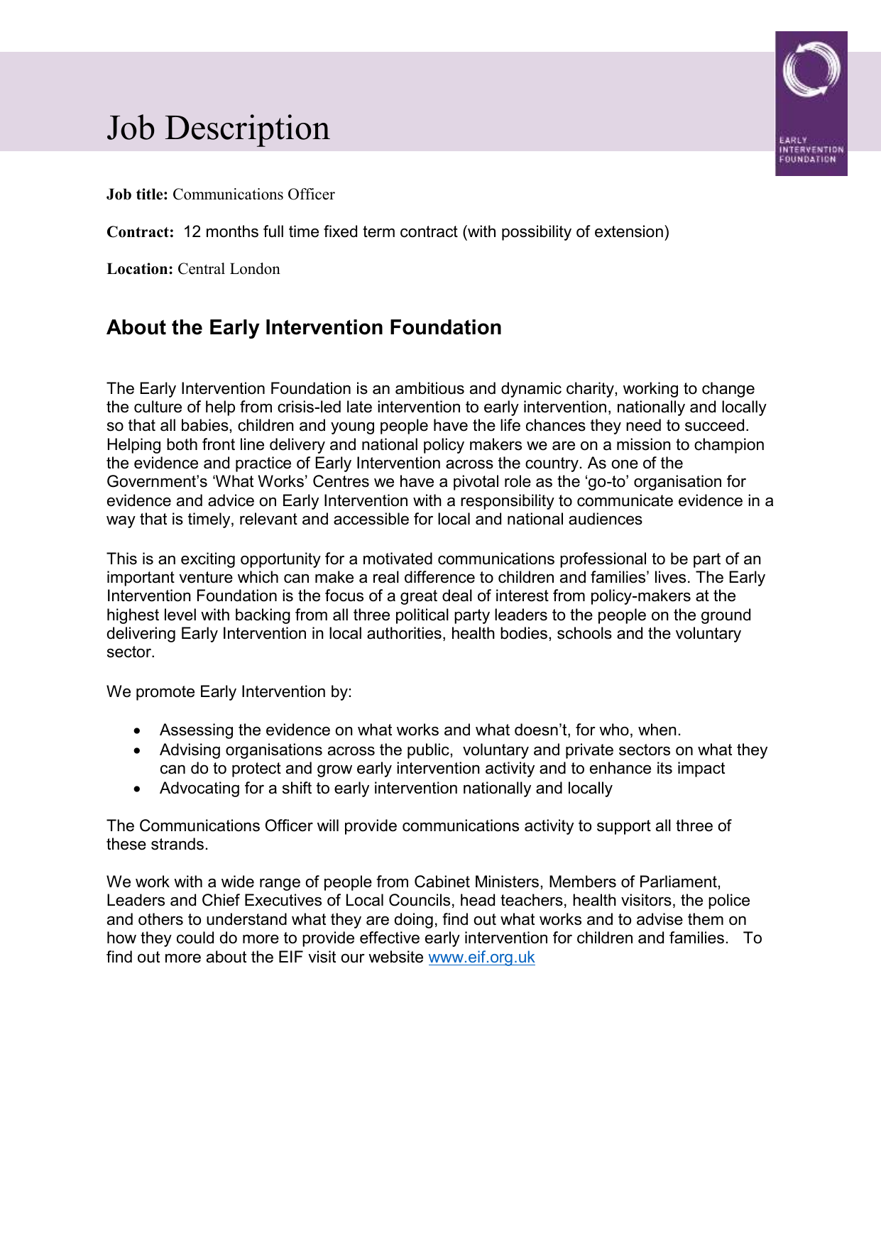 Communications Officer V4 Early Intervention Foundation