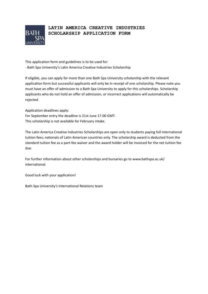 Latin America Creative Industries Scholarship Application Form