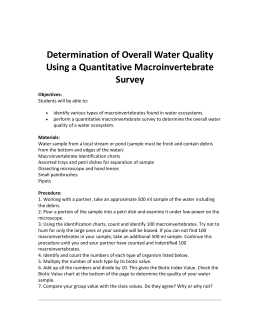 Determination of Overall Water Quality Using a Quantitative