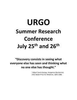URGO Summer Research Conference schedule