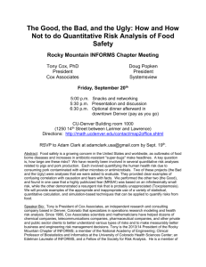 How and How Not to do Quantitative Risk Analysis of Food