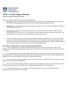 The W.A. Franke College of Business checklist